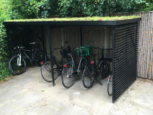 Grønt tag udført på cykelskur